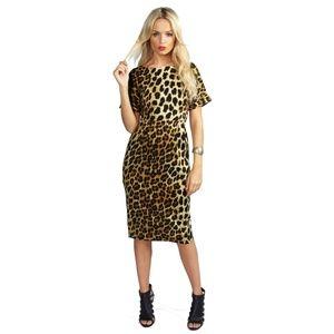 nwot boohoo leopard dress size 4 xs extra small